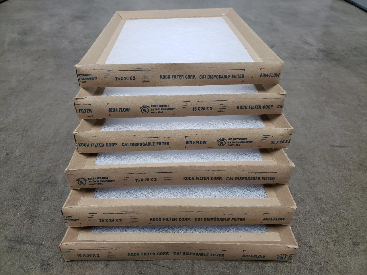 6x Koch 15x20x2 Fiberglass Disposable Furnace Filters 15 x 20 x 2 filter