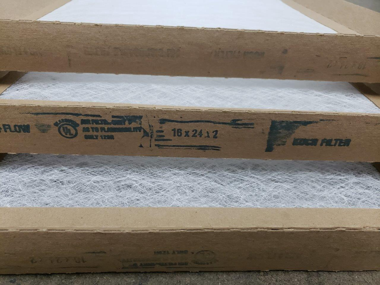 3x Koch 16x24x2 Fiberglass Disposable Furnace Filters 16 x 24 x 2 filter