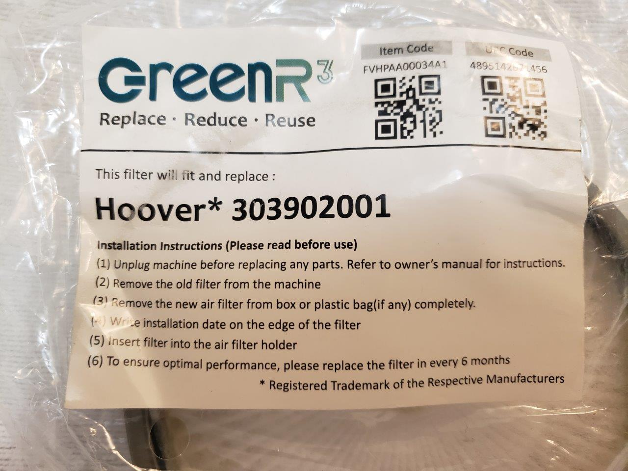 2x Hoover 303903001 and 303902001 WindTunnel Air Bagless Upright Filter Kit, fits UH70400, UH70405 Models