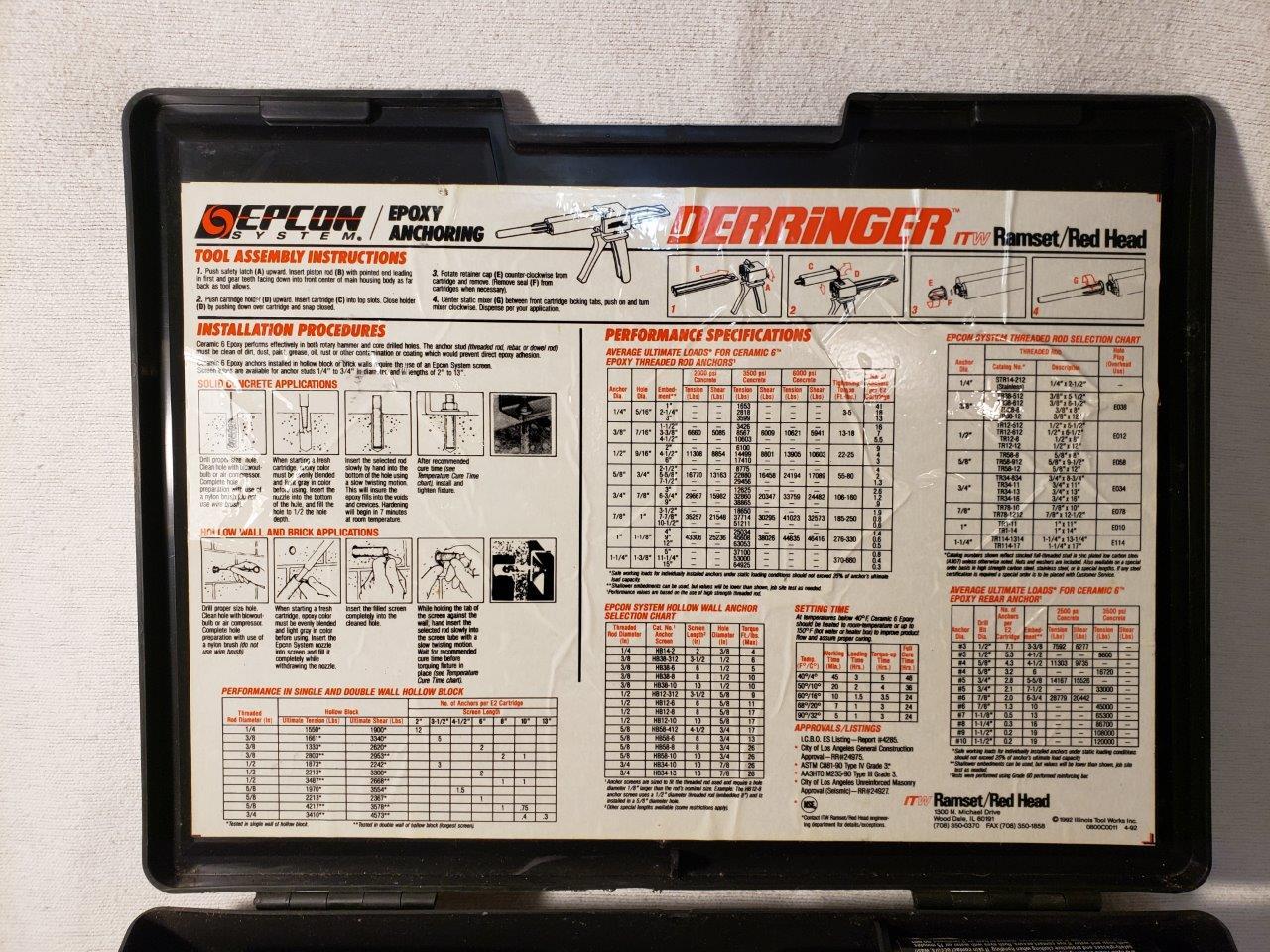 Epcon Derringer ITW Ramset Redhead Epoxy Anchoring System KIT chemical concrete dispenser Cartridge gun