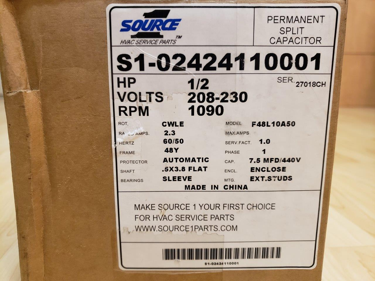 OEM York Coleman Luxaire Condenser Fan Motor 1/2 HP S1-02424110001 024-24110-001 F48L10A50