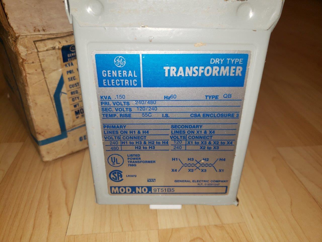 GE dry type Power / Control Transformer 150VA Single Phase 480/240 to 240/120 9T51B5