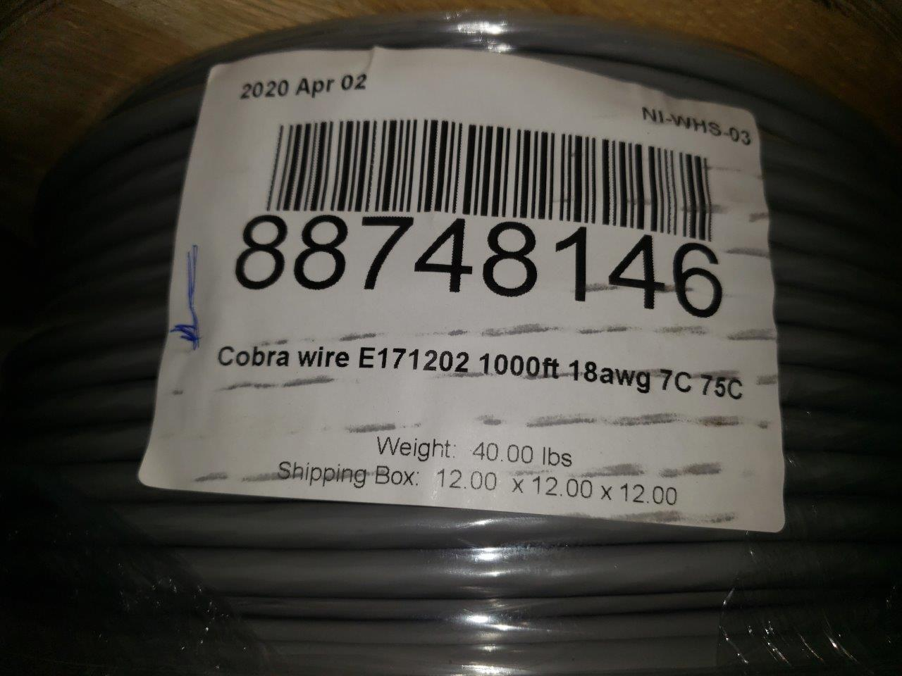 Multi-Conductor Cable E171202-01 18 AWG, 7C 75C, AWMW 2464, 300V Industrial Communication cable