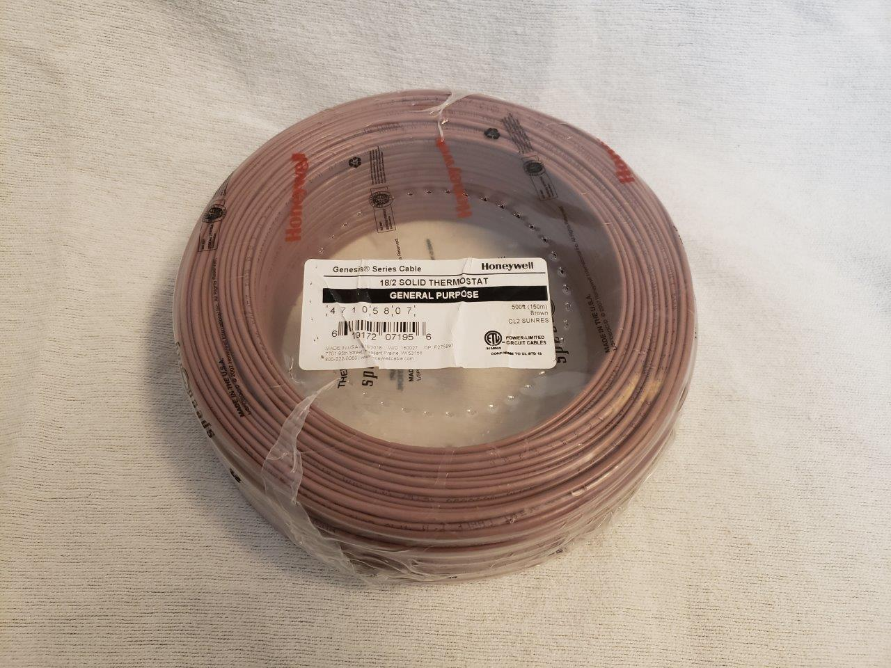 Thermostat wire cable 500ft 18/2 500 ft feet foot Honeywell Genesis