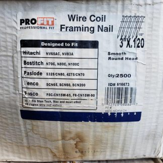 3 in x 0.120 in Pro-FIT 616673 Framing Nails Smooth Shank 15 Degree Coil Collated Nail (Pack Of 2500) Construction gun