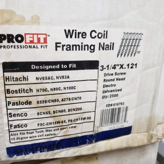 3-1/4 in x 0.121 in Pro-FIT 616793 Framing Nails Screw Shank 15 Degree Coil Collated Nail (Pack Of 2500) Construction