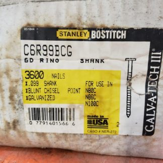 Stanley Bostitch C6R99BCG 2 Inch By 0.099 Galvanized Ring Shank 15 Degree Coil Framing Nails (Pack Of 3600) nail gun construction