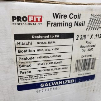 2-3/8 in x 0.113 in Pro-FIT 0616753 Framing Nails Smooth Shank 15 Degree Coil Collated Nail (Pack Of 3000) Construction gun